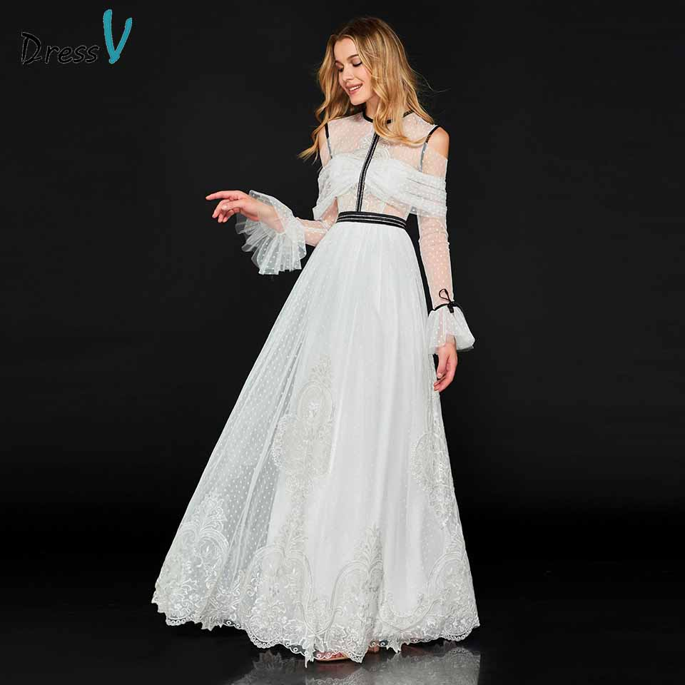 Dressv Evening Party-Gown Appliques Long-Sleeves Elegant A-Line Floor-Length Scoop Customize