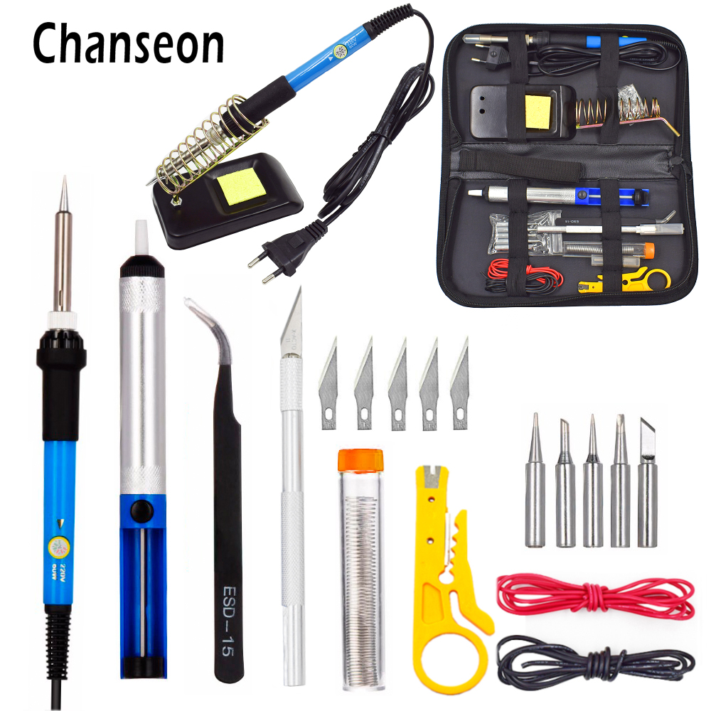 Chanseon 110 V/220 V 60 W Kit de soldador eléctrico de temperatura ajustable + unids 5 puntas herramienta de reparación de soldadura portátil pinzas cuchillo