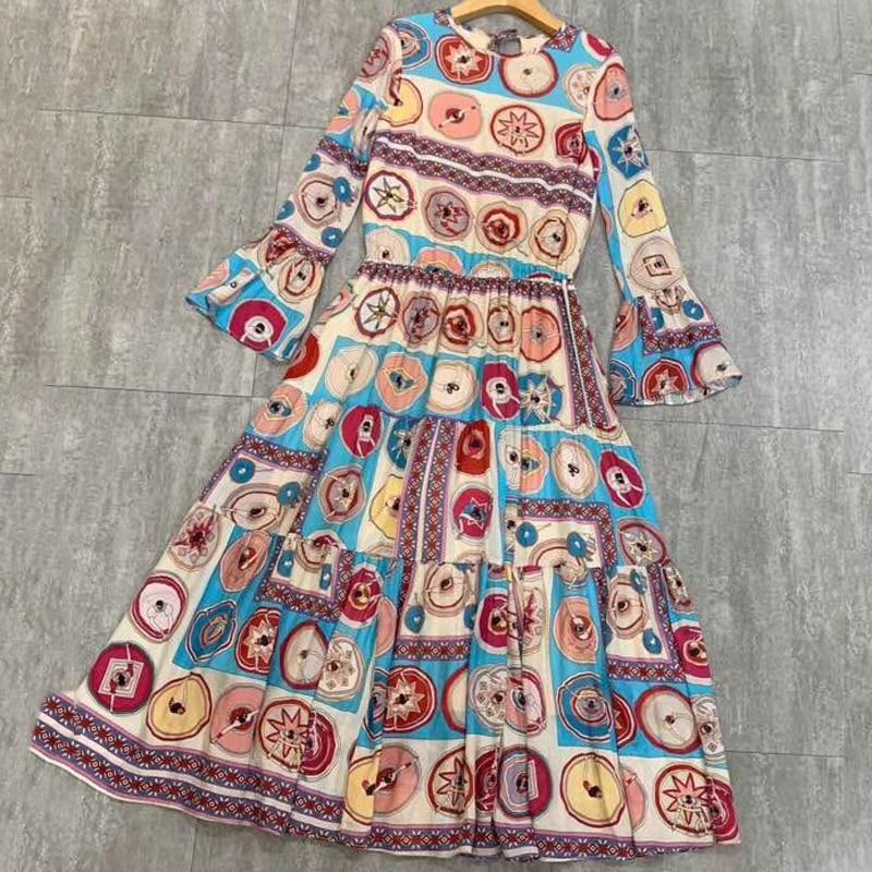 Femmes Printemps Longues ligne Taille Manches Imprimer Élégant À A 2019 Casual Robes Robe Haute rI1Ewrq7C