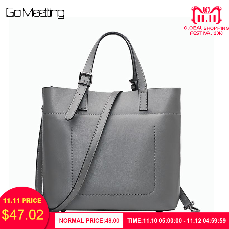 Go Meetting Women Genuine Leather Tote Bag New Leisure Top-handle Bags Lady Casual Cow Leather Crossbody Shoulder Bags Handbag hot sale 2016 new fashion brand designer women casual tote bags cow genuine leather lady handbag shoulder bag crossbody bags