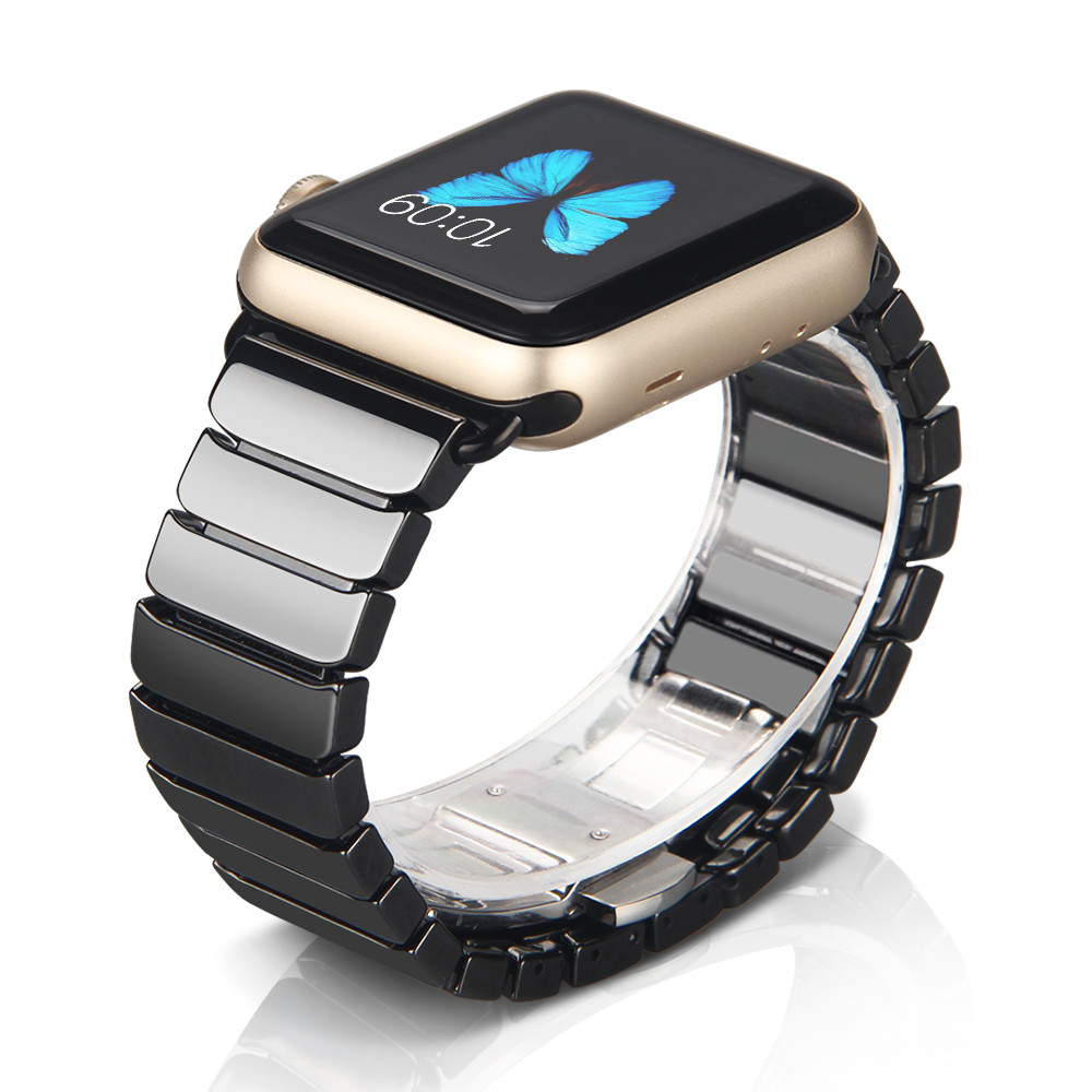 NOTO 38mm 42mm White and Blck Color Ceramic Links Watchband for iWatch, Ceramic Band for Apple Watch AWFCB monochrome
