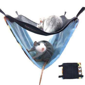 Hamaca con gancho para hámster, Chinchilla Ferrets, cama colgante de malla transpirable de doble capa, cama cómoda para mascotas, envío directo
