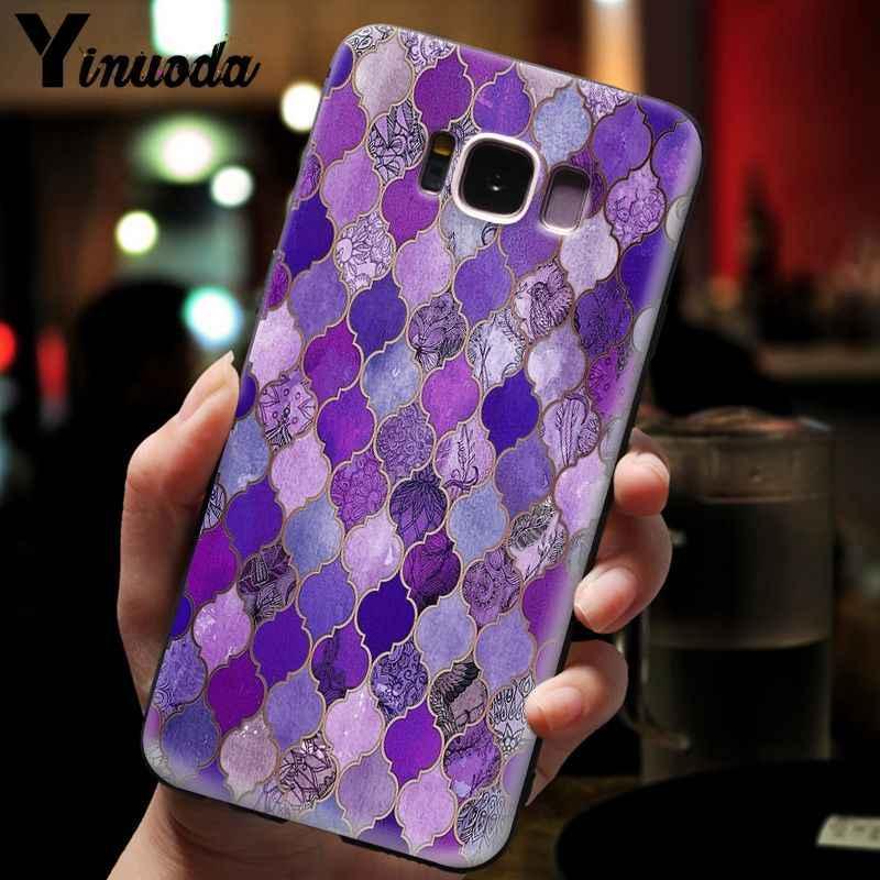 Yinuoda Sapphire หยกสี Feather แก้ว Mandala Classic High - end สำหรับ GALAXY s7 edge s8 plus s9 plus s5 s6 edge