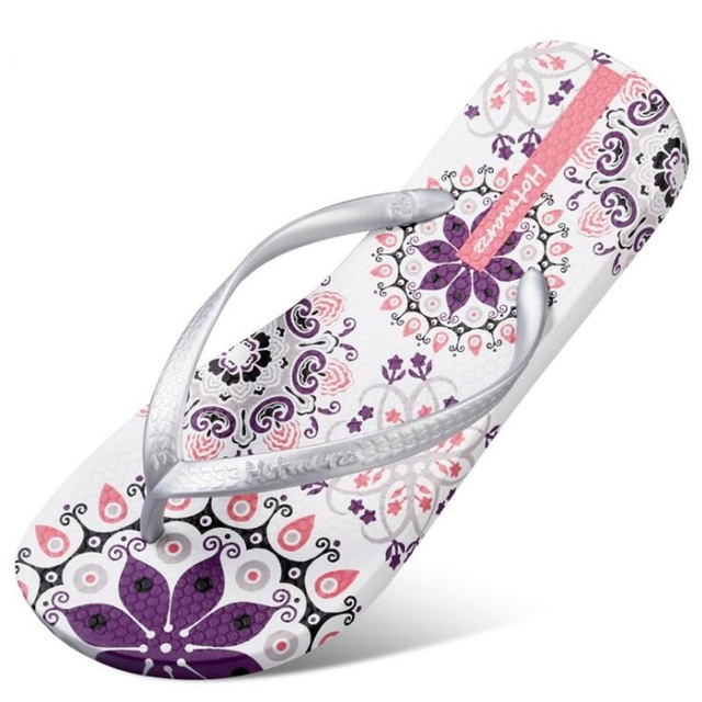 357dc1d40391 New Women Summer Bohemia Beach Sandals Flat Flip Flops Ladies Fashion  Slippers Indoor Shoes Silver Floral Slides