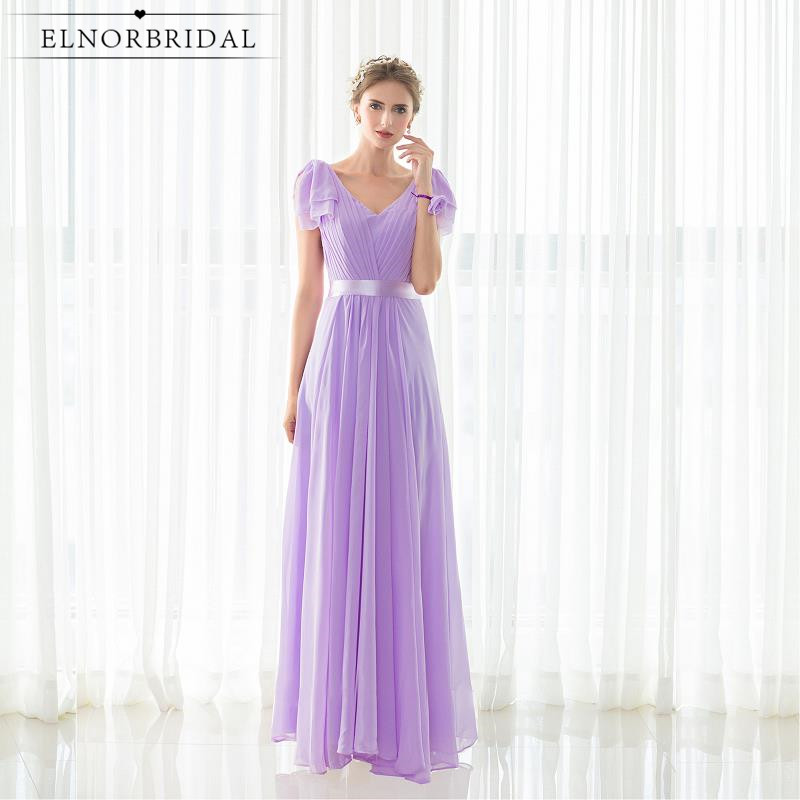 Lavender Maid Of Honor Dresses For Weddings Party Gowns Robe Demoiselle D'honneur Cap Sleeve Bridesmaid Dress Cheap