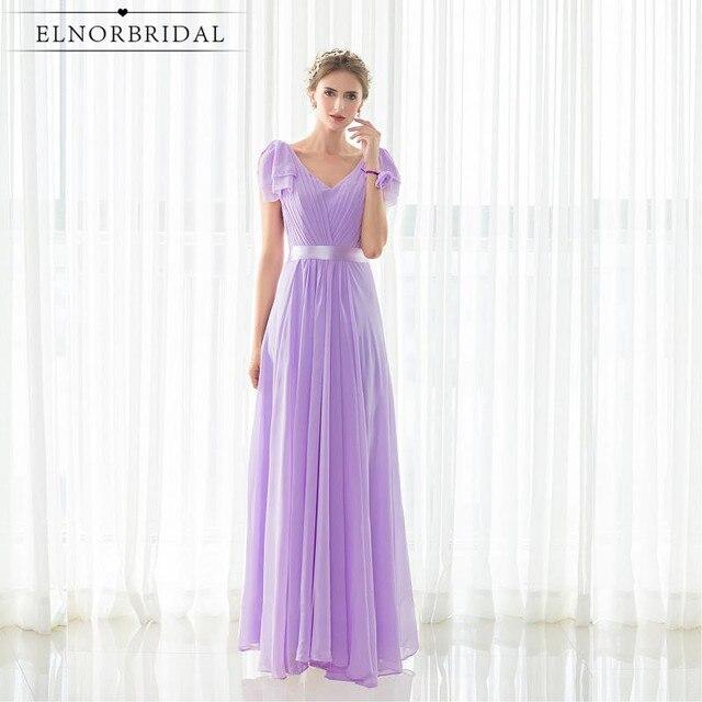 Lavender Maid Of Honor Dresses For Weddings Party Gowns Robe Demoiselle  D honneur Cap Sleeve Bridesmaid Dress Cheap 805a7fe2167b