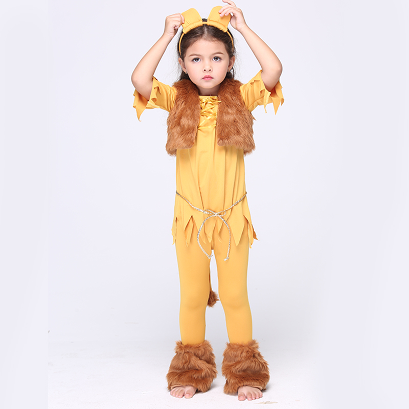 2017 Direct Clothing Girls Deluxe Cowardly kids Lion Cosplay Dress Fancy Child Animal Anime Carnival Party Costume size 4-8year brand infants costume series animal clothing set lion monster owl cow clasp elephant kangroo baby cosplay cute free shipping