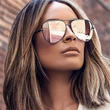 Lunettes de soleil rose pour homme et femme, verres solaires surdimensionnés, effet miroir argenté, marque de styliste, pilote