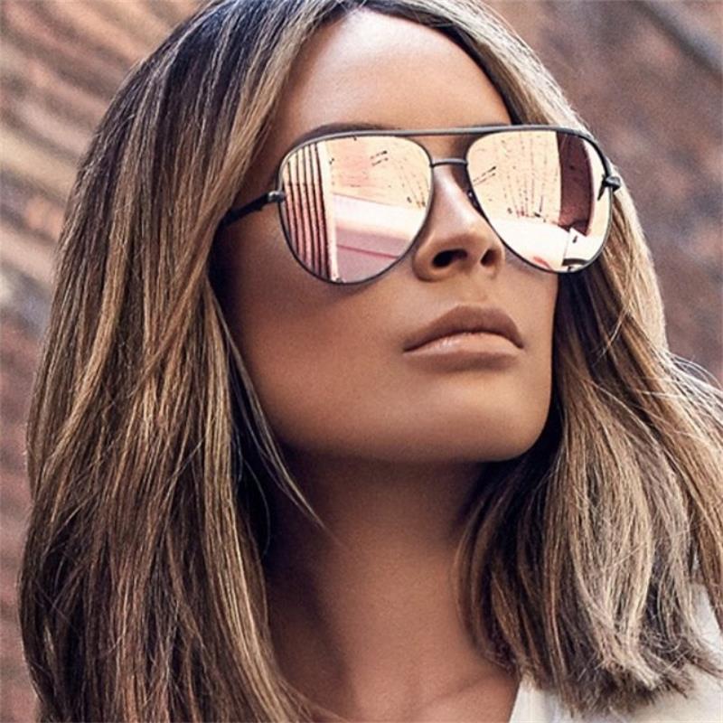 نظارات شمسية ذات مرآة فضية كبيرة الحجم باللون الوردي من Gun