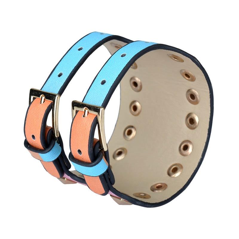 Kirykle-bracelet en cuir pour femmes, bijou Punk classique, nouveau Style, breloque multicolore, à rivets larges, à la mode 3