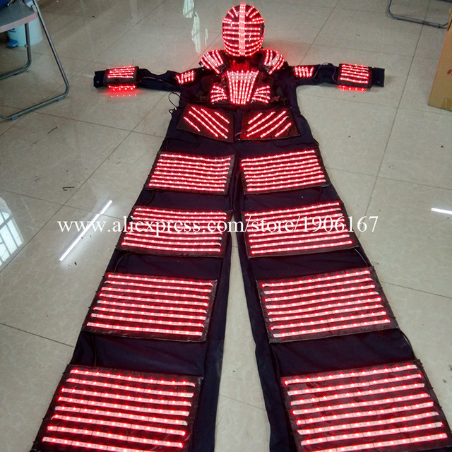 High quality multicolor led tall robot with helmet suits armor and laser gloves by remote control