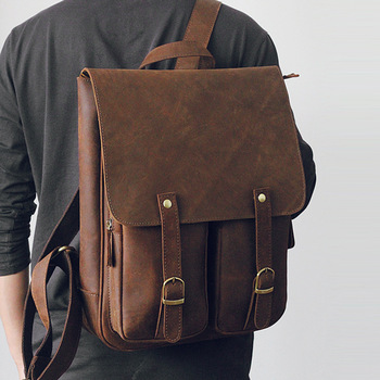 vintage man Scrub Texture genuine leather laptop backpack male all cow leather leisure travel knapsack cowhide field pack