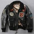 EE.UU. de la fuerza Aérea piloto más tamaño insignia cuello de piel de cuero hombres chaqueta de bombardero negro chaqueta de cuero de invierno los hombres avirex volar