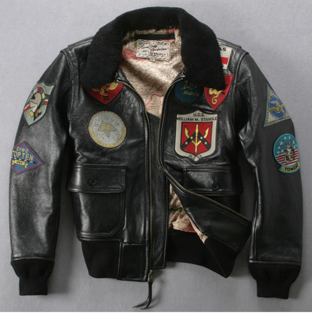 a1bd4e28413 U.S Air force pilot jacket plus size fur collar badge leather bomber jacket  men black winter
