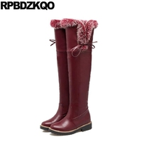 Shoes Fashion Wine Red Size 10 43 Slim Thigh High Boots For Plus Women Bow Lace