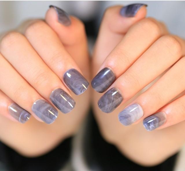 24Pcs/Set Marble fake nails grey press on false tips square natural ...