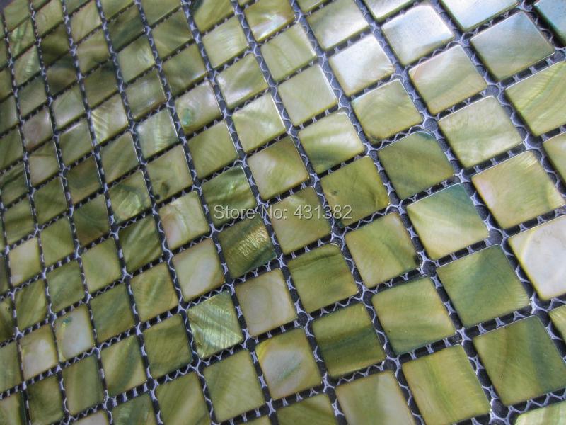 Pz verde tessere di mosaico madre di piastrelle perla parete