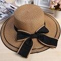 2016 Diseño Del Arco Grande Sombrero de Sol Mujer Verano Al Aire Libre de Protección UV de Ala Ancha Sombrero para el Sol Sombreros de Verano para Dama