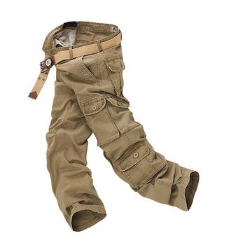 Moda bojówki wojskowe Cargo mężczyźni luźna workowata spodnie taktyczne Oustdoor Casual Cotton Cargo spodnie mężczyźni wiele kieszeni duży rozmiar tanie i dobre opinie Pełnej długości Zipper fly Midweight Cargo pants Na co dzień Mieszkanie ZBML025 Men s Cargo Pants SHIFUREN Suknem Luźne