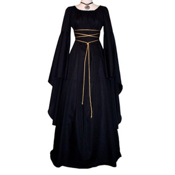 Goth Women Gown Vintage Bandage Flare Sleeve Robe Asymmetrical Black Gothic 6 Colors