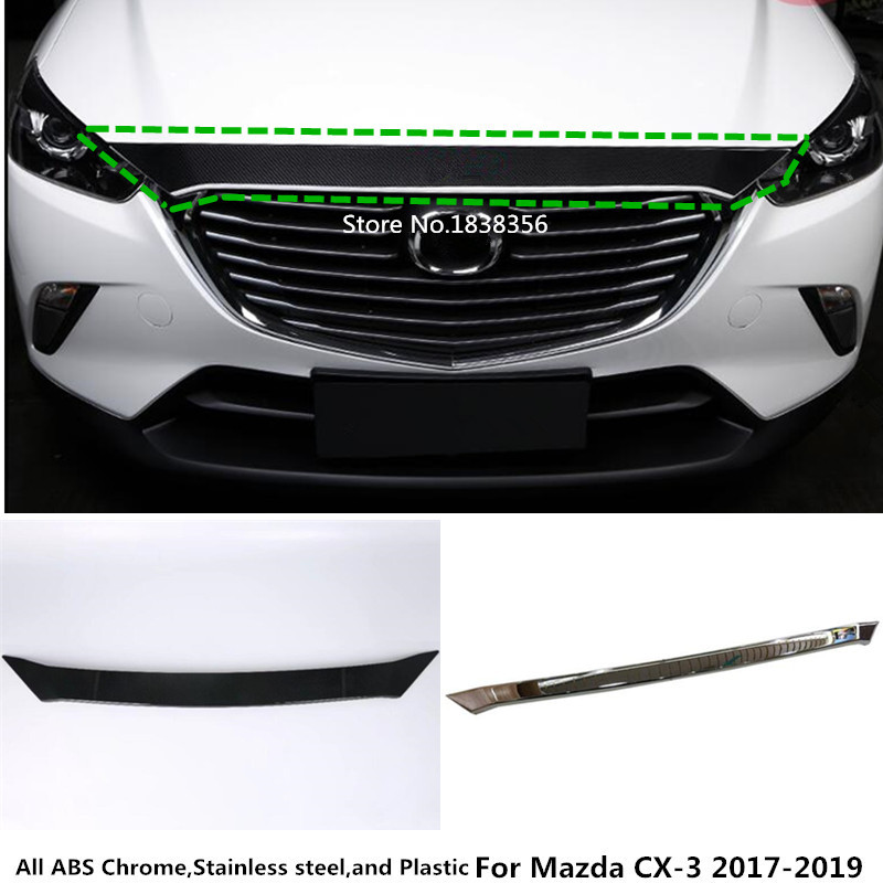 For Mazda CX-3 CX3 2017 2018 2019 Car cover bumper engine ABS Chrome trim racing front Grid Grill Grille frame edge hoods 1pcs стоимость