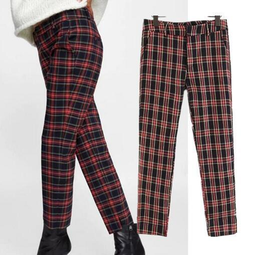 2018 Women Red Plaid Pants British Style Retro Vintage Checker Pattern Trousers 2