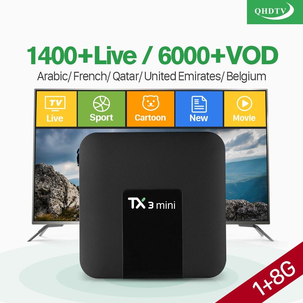 France IPTV Boîte QHDTV Code 1 Année 4 k TX3 mini Smart IPTV Box Android 7.1 S905W PK X96 mini français Arabe Belgique IP TV Box