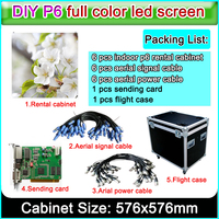 27777 Pixel Density P6 led full color video wall High Brightness and Resolution LED rental die cast aluminum cabinet 576x576mm