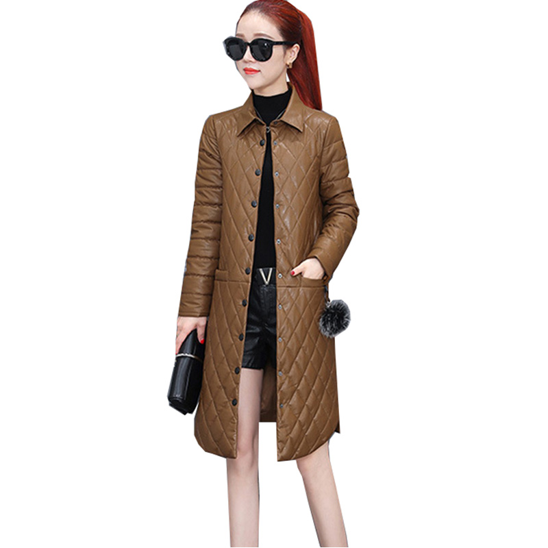 2018 New Autumn Winter   Leather   Jacket Women Single Breasted Long Parka Coat Warm Jacket Women's Thin Cotton Quilted Coat YM875