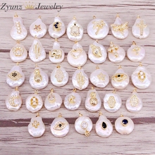 10PCS, Mix Random,Natural Pearl pendant with cz micro pave gold charm Pearl Pendant DIY jewelry findings