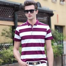 Baishanglinna Чоловічі сорочки поло 2018 Літні чоловічі повсякденні дихаючі смугасті короткі рукава сорочки поло з бавовняною водою Plus Size S-4XL