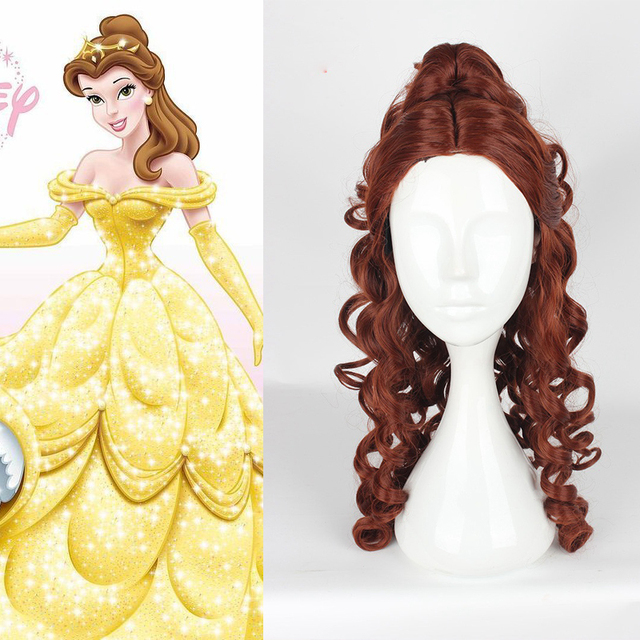 Disney Beauty and The Beast Princess Belle Cosplay Wigs Women Female Anime Costume Party 60cm Curly Wavy Synthetic Hair Brown