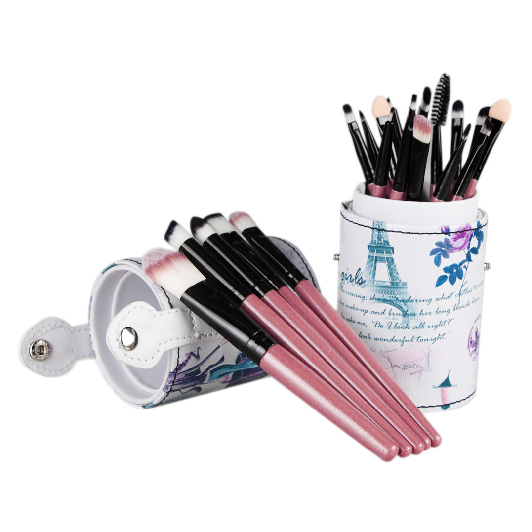 Professional 20PCS Set Brushes +Leather Cup Holder Case for Brush Toiletry Kits Makeup Cosmetic Eyeshadow Lip eyebrows Blusher hot pro makeup brushes kits flower leather cup holder comestic brushes empty case 4 color free shipping