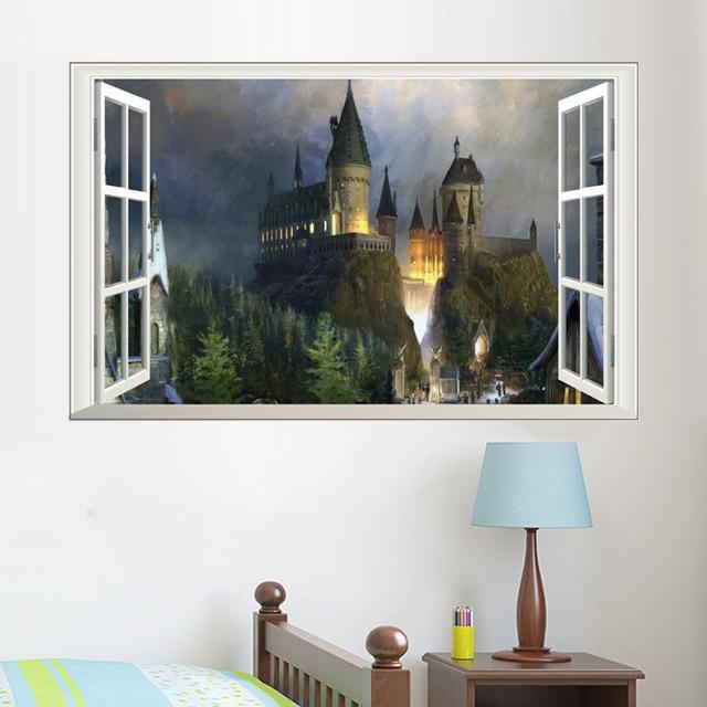 Effetto 3d harry potter hogwarts scuola finestra wall for Mobili harry potter