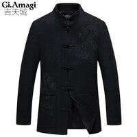 קונג פו לונג סגנון צמר מעילי חורף דפוס רטרו סין גברים Outwearcoat 4xl גודל פלוס בגדי 2017 של גברים צמר מעיל מעיל