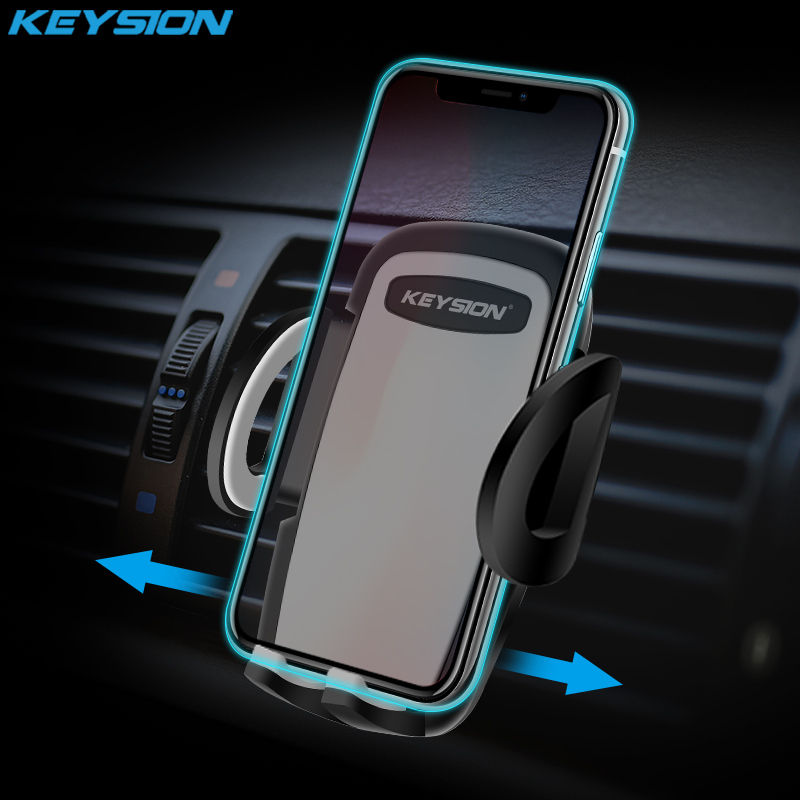 KEYSION One-Click Release Car Phone Holder Universal Air Vent Mount Car Holders 360 degree rotation Sucker Car windshield Stand