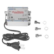 цены 220V 2 Way CATV Cable TV Signal Amplifier AMP Antenna Booster Splitter Set Broadband Home Tv Equipments 45Mhz to 860MHz
