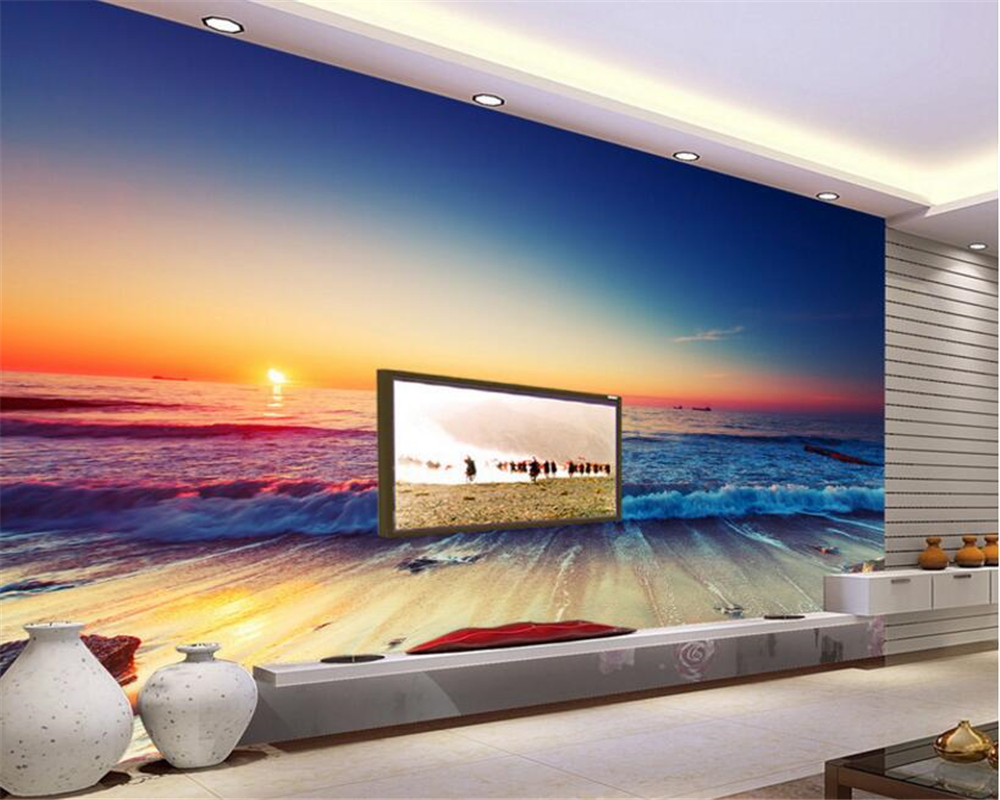 beibehang Sound insulation effect of the dream wallpaper beautiful sunrise Oriental seaside scenery TV background wall tapety
