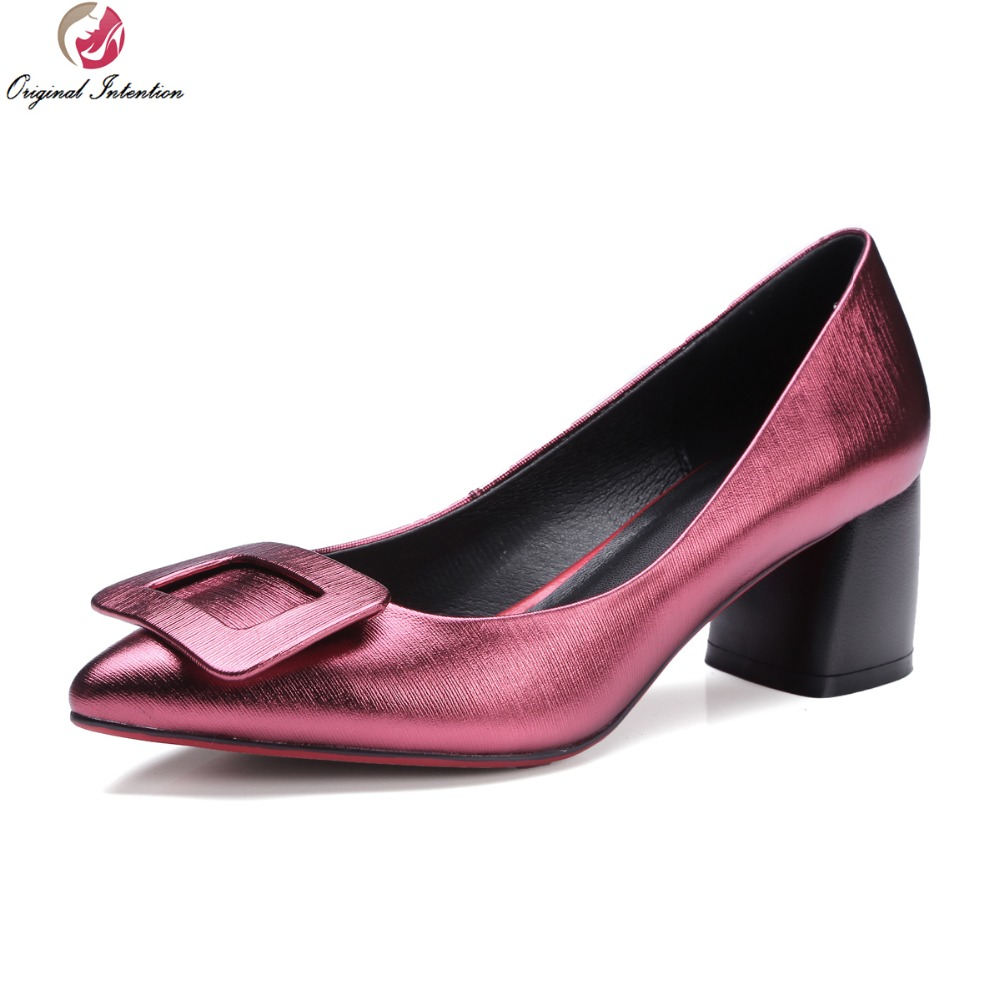 ФОТО Original Intention Women Pumps Genuine Leather Pointed Toe Square Heels Pumps Fashion Grey Wine Red Shoes Woman Plus Size 4-10