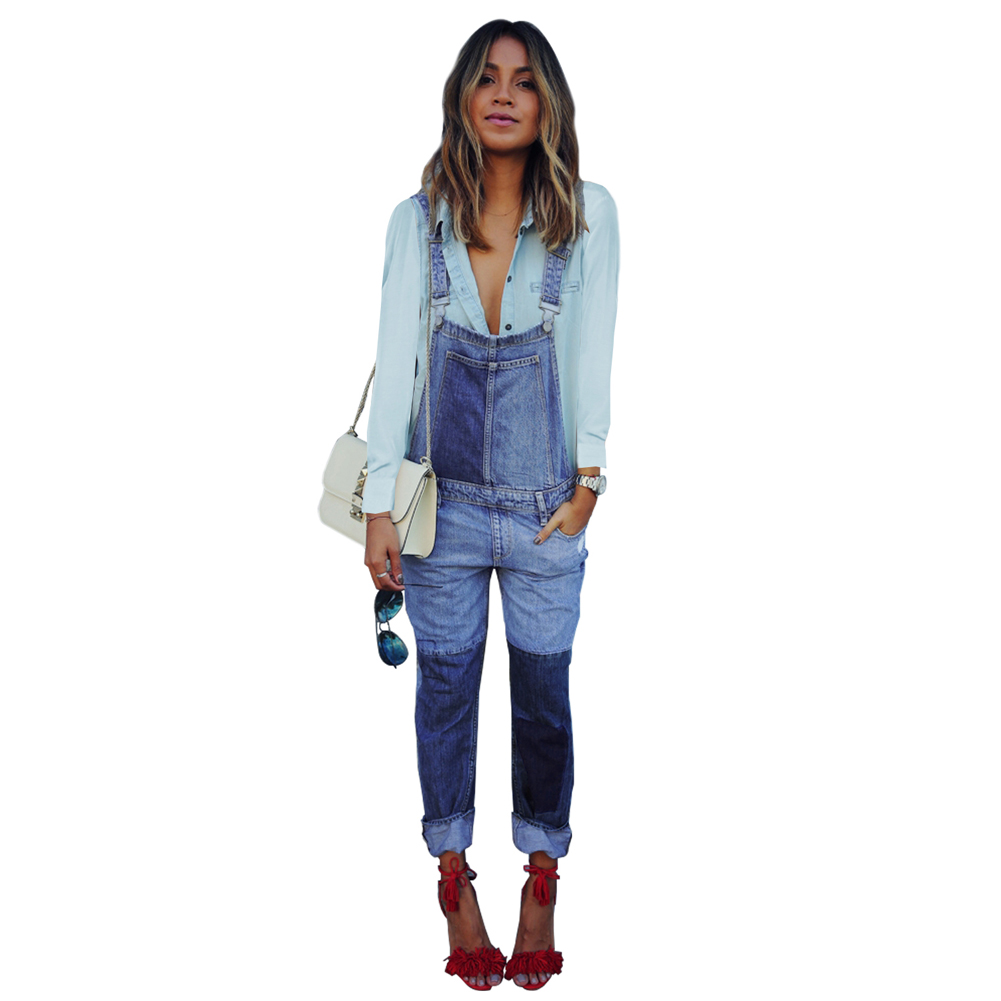Fashion Women Denim Jumpsuit Ladies Jeans Casual Wild Loose Color Matching Design Straight Denim Female Casual Overall Playsuit