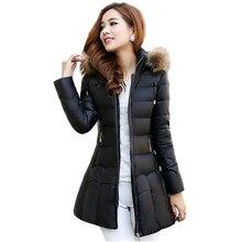 2016 Зима новый большой размер женщин хлопка шерсти воротник капюшоном Корейской Тонкий толстый длинный участок большой пальто