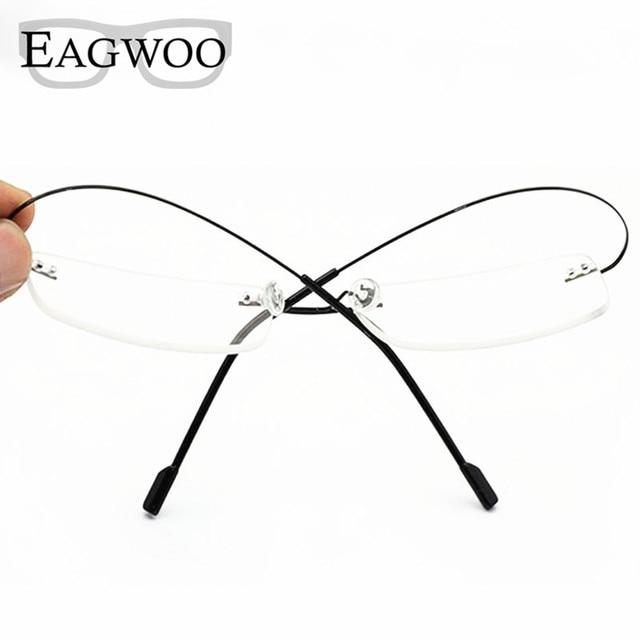 Stainless Steel Eyeglasses Rimless Optical Frame Prescription ...