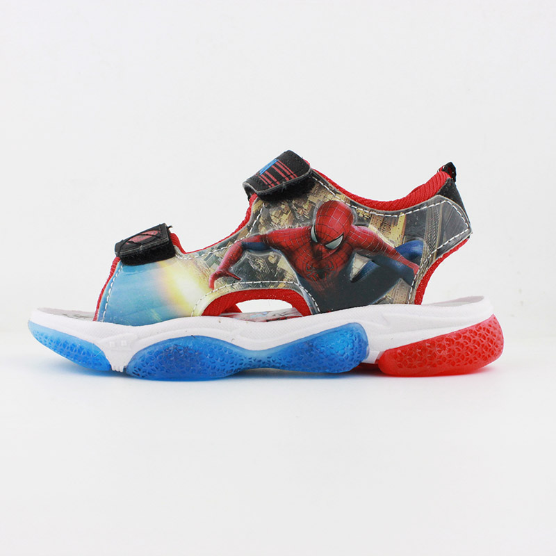 New Boys Red Soft Spider-man Sandals  With LED Light  Summer Children Sport Beach Shoes Europe Size 20- 31