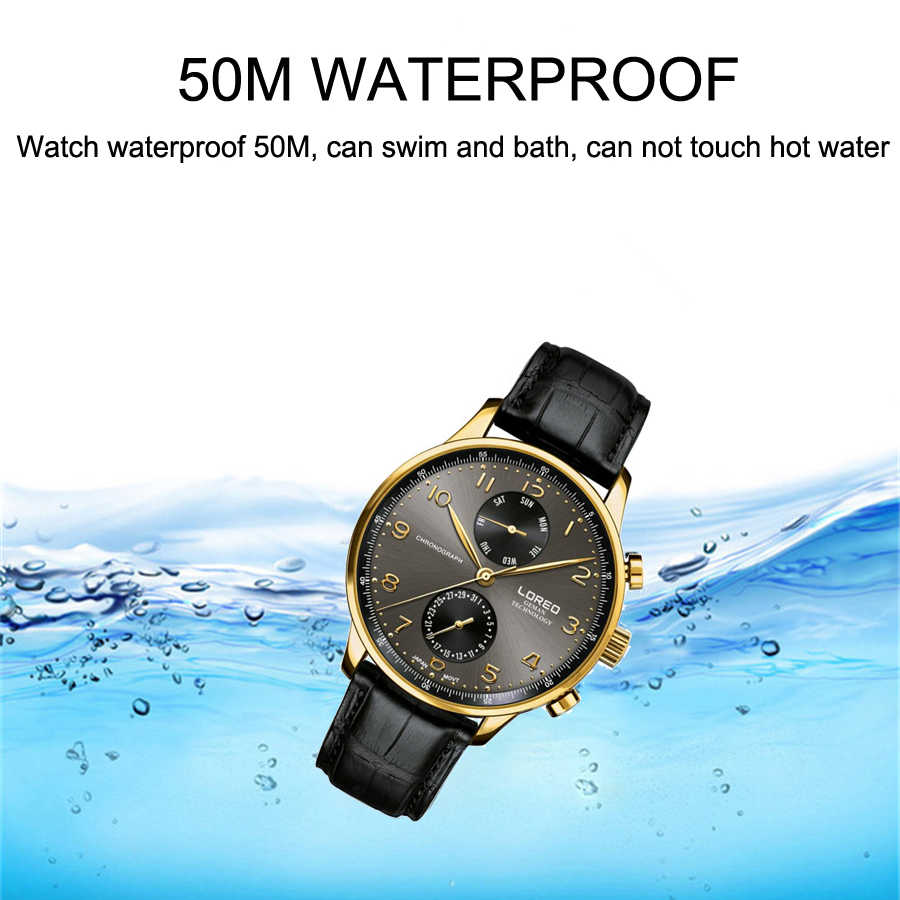 LOREO メンズ腕時計ブランドの高級レザーカジュアルクォーツ腕時計メンズミリタリースポーツ防水時計ダイビング腕時計レロジオ Masculino