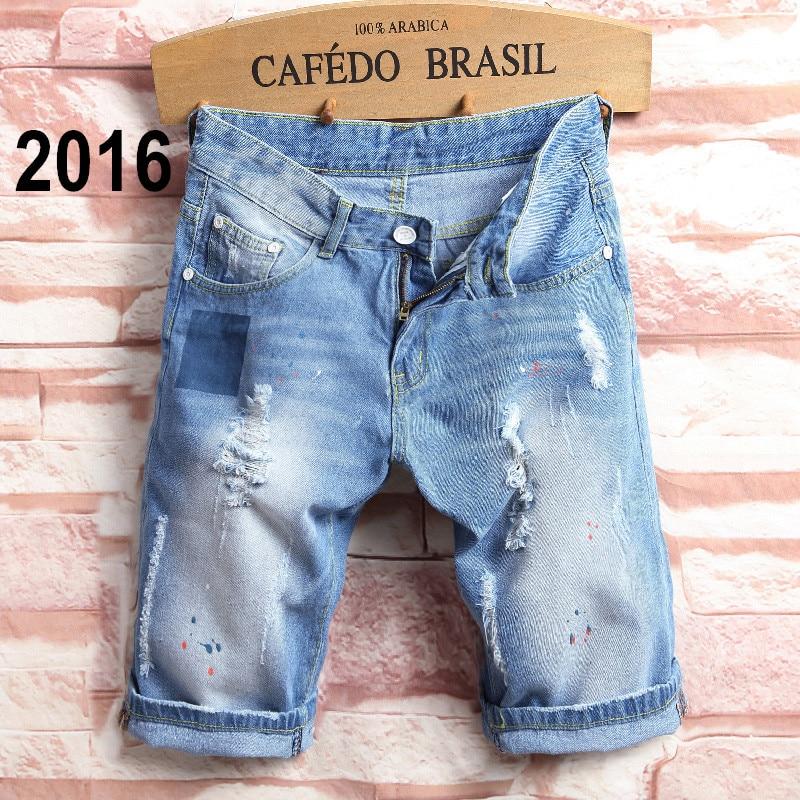 1921cd8760ed 2017 sommer Herren Distressed Jeans Zerrissene Denim Shorts Vintage Darked  Waschen Loch Patchwork Capris Kurze Hosen Mermuda 2016 in 2017 sommer Herren  ...