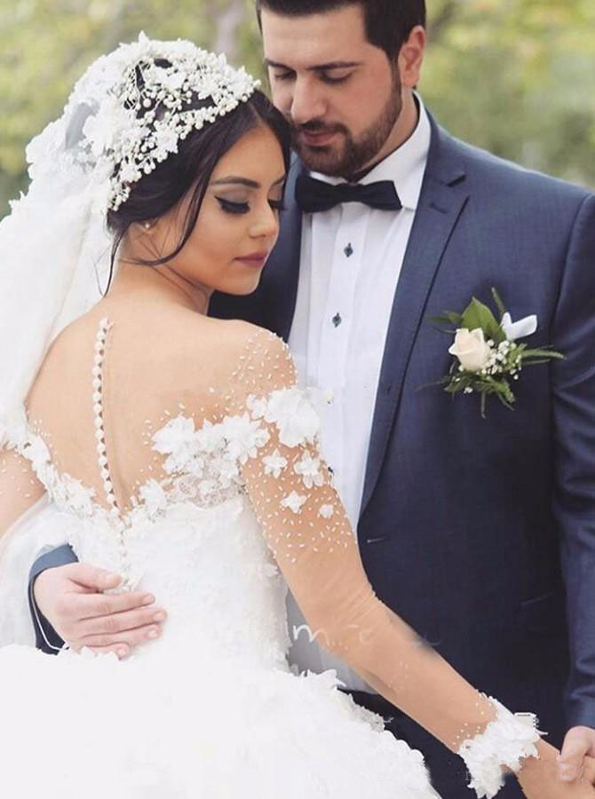 Illusion Neckline Long Sleeves Ball Gown Wedding Dress with Flowers Beaded Arabic Designer Wedding Gowns 2017