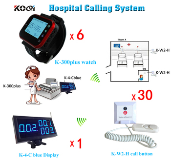 Clinic Wireless Nurse Calling System Panic Button with 30 Calling Buttons,6 Wrist Watch and 1 Number Monitor