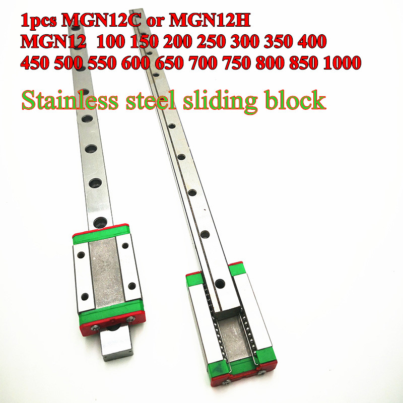 Linear-Guide Rail-Way MGN12H 12mm 400 500 300 450 350 550-600-700 800-Mm Or L--100-200