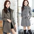 2016 весна осень шерсть ломаную клетку шерстяное пальто все матч идеальный slim на средние и длинные темперамент женщин плюс размер шерстяные верхняя одежда