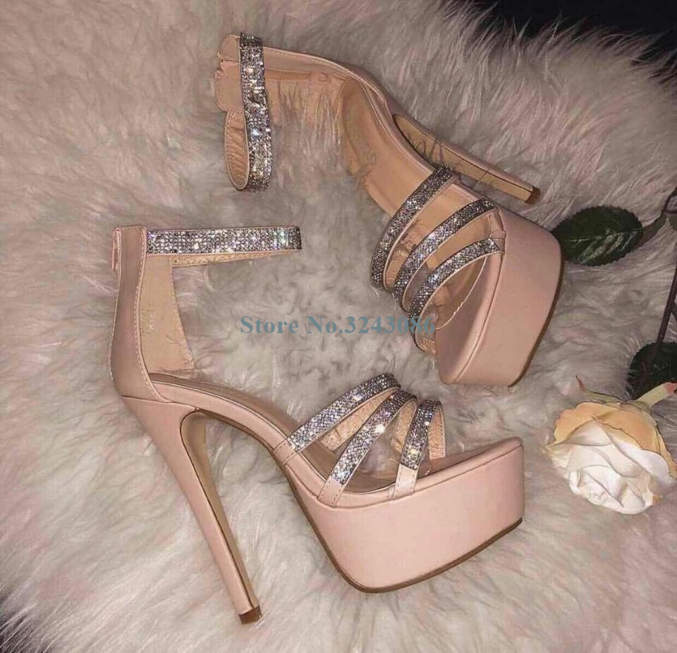 Pink Black Crystal Platform Thin High Heel Sandals Leather Bling Bling Rhinestone Banquet Shoes Shining Wedding ShoesPink Black Crystal Platform Thin High Heel Sandals Leather Bling Bling Rhinestone Banquet Shoes Shining Wedding Shoes